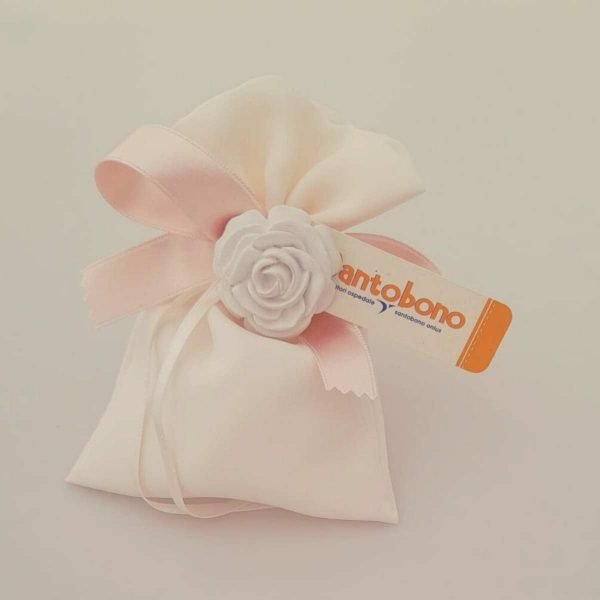 Bomboniera-Solidale-santobono-Rosellina bianca-con-sacchett